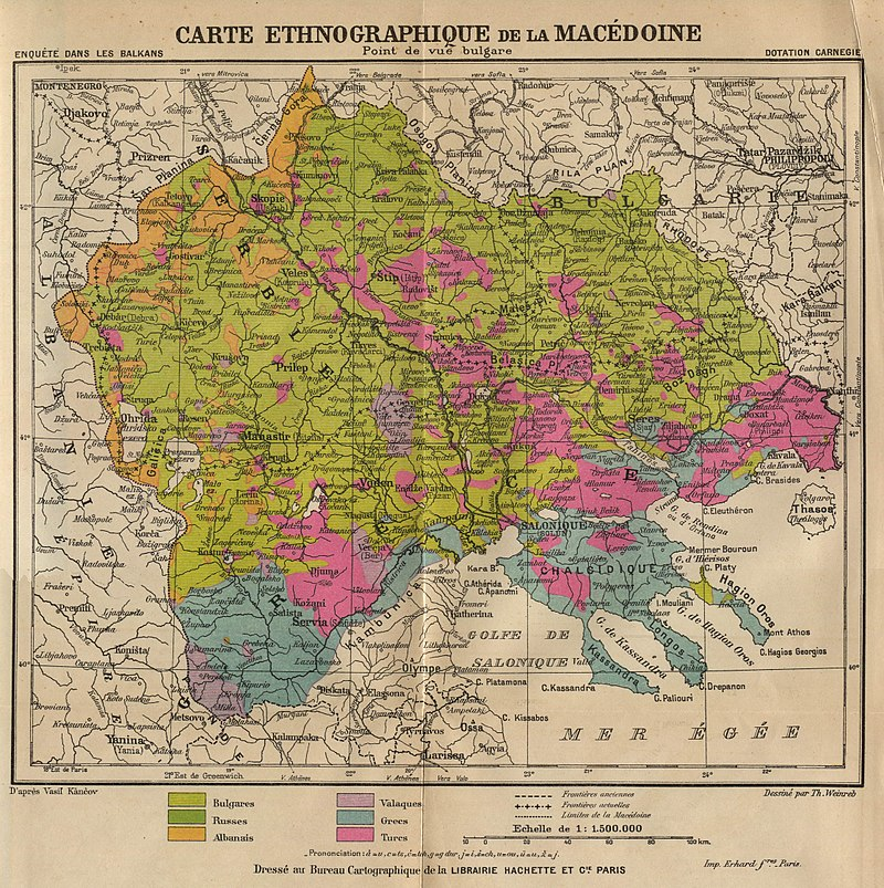 Ethnic Map of Macedonia from the Bulgarian point of view. Author: Th. Weinreb / Carnegie Endowment for International Peace, ...