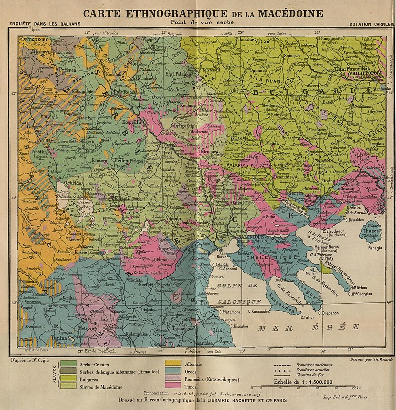 ... Ethnic Map of Macedonia from the Serbian point of view. Author: Th. Weinreb / Carnegie Endowment for International Peace,